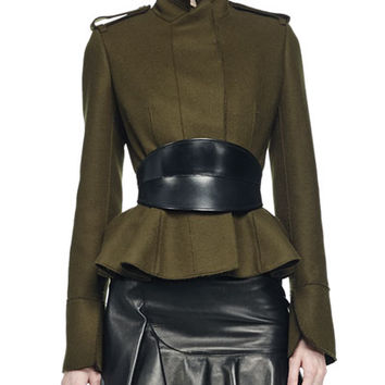 Alexander McQueen Raised Seam Peplum Jacket, Leather Skirt & No-Buckle Leather Waist Belt