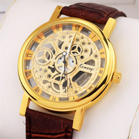 Mens Hollow Out Leather Strap Watch Superior Quality Best Christmas Gift
