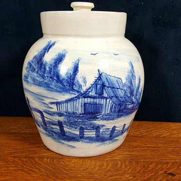 Marshall Pottery Crock Paul Storie Blue Country Scene