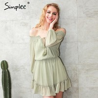 Ruffle fringe sexy dress Short chiffon vintage dress women Off shoulder long sleeve beach summer dress