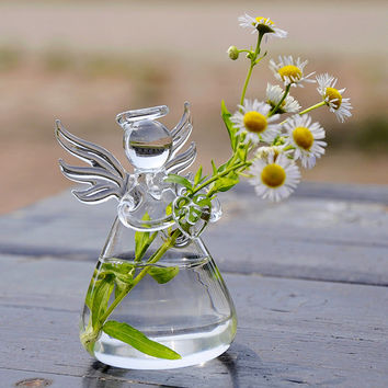 FREE SHIPPING Angel Glass Hanging Planter Container Vase Pot Home Wedding Decoration Wall