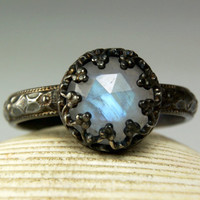 Rainbow Moonstone Ring, Sterling Silver, Natural Blue Faceted Stone, Antiqued, made to order in your size