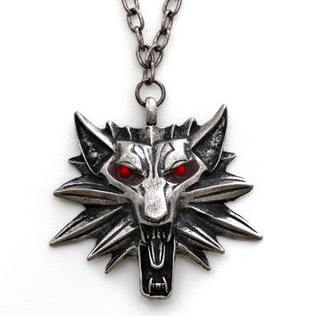 Vintage New Wolf Head Necklace The Witcher Pendant Wizard Witcher 3 Medallion Pendant Necklace The Wild Hunt 3 Figure Game