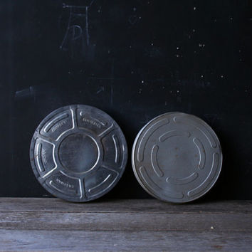 Two Vintage Film Movie Reel Tin Kodak Eastman and Unmarked From Nowvintage on Etsy