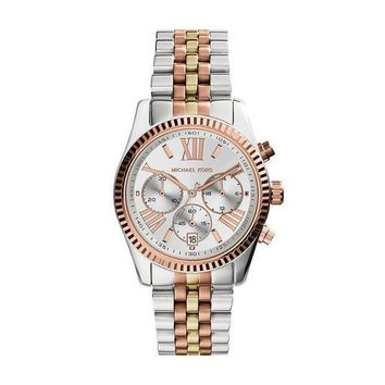Michael Kors Women's Lexington Triology Watch Rose Gold/silver/yellow Gold One Size
