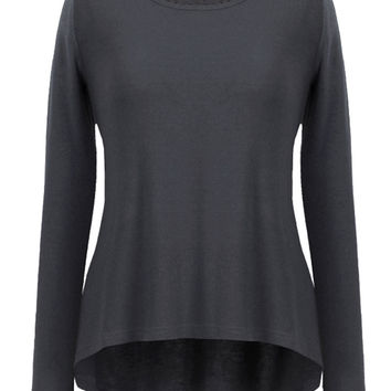 Funky Asymmetric Long Sleeve Swing Fitted Tops