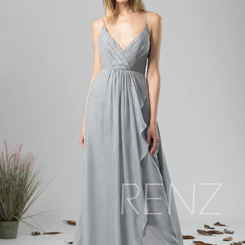 Bridesmaid Dress Medium Gray Chiffon Dress Wedding Dress,V Neck Spaghetti Strap Maxi Dress,Ruffled Skirt Illusion Back Evening Dress(H590)