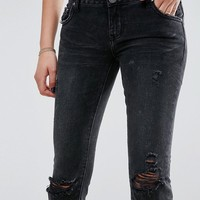 One Teaspoon Freebird Mid Waist Crop Jean with Raw Hem at asos.com