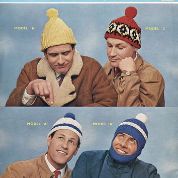 1960's Men's Bobble Hats / Caps and Helmet / Knitted Woolly Hats. Original Vintage Knitting Pattern. Sirdar Pattern 2047.