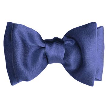 Soave-Classic Silk Satin Self-Tie Bow-Electric Blue