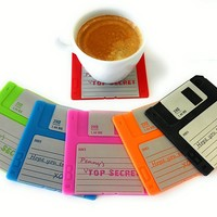 Set of 6 Colorful Floppy Disk Coasters - Perfect For Computer Enthusiasts