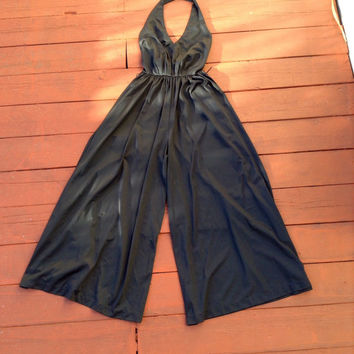 Amazing Navy Blue 100% Nylon Vintage Halter Wide Leg Jumpsuit Size 8