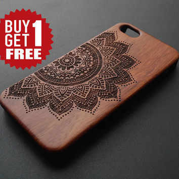 Rose Wood & PVC Material Mandala iPhone 5 5s 4 4s Case - Wood iPhone 4 4s 5 5s Case - iPhone 5 5s 4 4s Case Wood - Wooden iPhone 5 4 Case