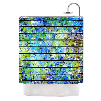 "Ebi Emporium ""Stripes & Snowflakes"" Blue Green Shower Curtain"