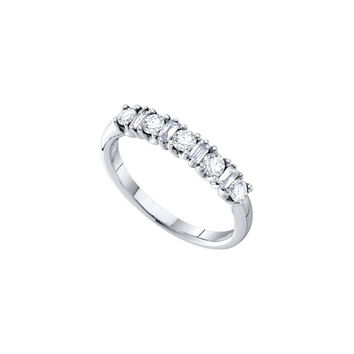 14kt White Gold Womens Baguette Round Diamond Single Row Wedding Band 1/2 Cttw 26212