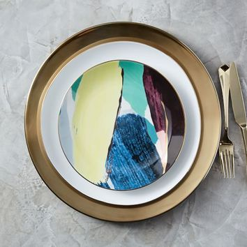Abstract Brushstroke Salad Plate - Green/Yellow/Gold