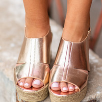 Can't Stop Your Shine Wedges, Rose Gold
