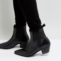 ASOS Stacked Heel Boots In Black Leather With Lightening Detail at asos.com