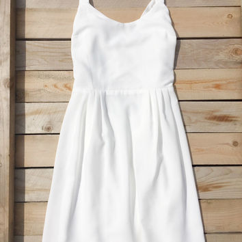 Cross Back White Summer Dress