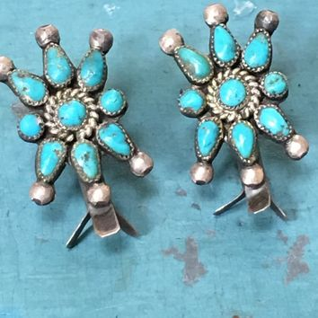 Early Petit-Point Turquoise Squash Blossom Earrings Screw Back