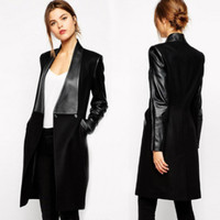 Black Pu Leather Patchwork Long Coat
