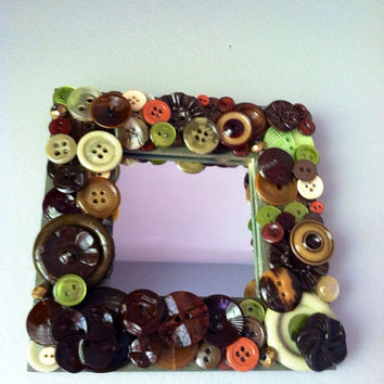handmade recycled button mosaic mirror, vintage button art, Hand dyed buttons