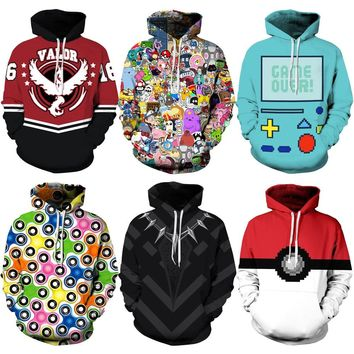 026 Adventure time Poke Ball Pokemon Deadpool Printed Women Jacket Hooded Femme Sweatshirt Casual Loose Men Pocket Hoodies Coat