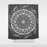 Mandala boho black shower curtain