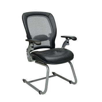 Space Seating 36 Series Professional AirGrid Back Visitors Chair w/ Platinum Finish Accents - Cantilever Arms