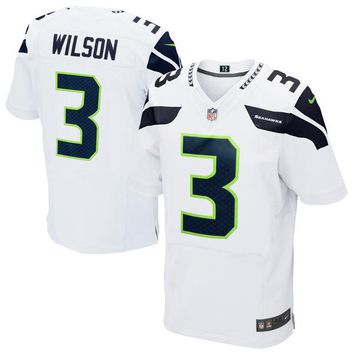 Mens Seattle Seahawks Russell Wilson Nike White Elite Jersey