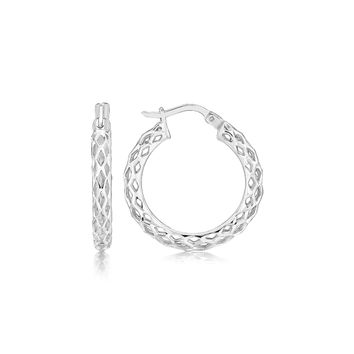 Sterling Silver Rhodium Plated Woven Motif Small Hoop Earrings