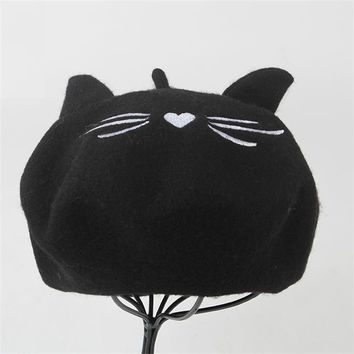 Wool Berets Winter Flat Caps Cute Cat Ears Embroidery Pattern Hat Black Warm Soft Felt Beanie Hats For Women Gorras Planas S6