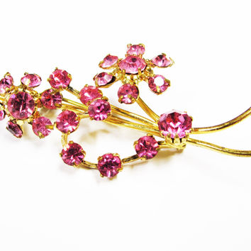 Vintage Pink Rhinestone Flower Brooch Made in Austria