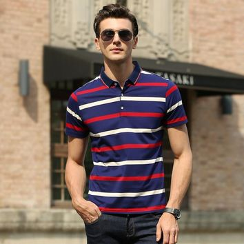 Summer Short Sleeve Men Cotton Pullover Stripes Print Men's Fashion T-shirts [6543964419]
