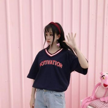Women Summer T shirt Harajuku Tops Tee Striped Female Preppy Tshirt Ulzzang Kawaii V-neck Letter T-shirt Dropshipping HT9079