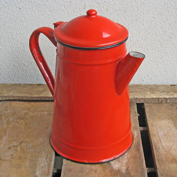 red enamel coffee pot, mid century French kitchen