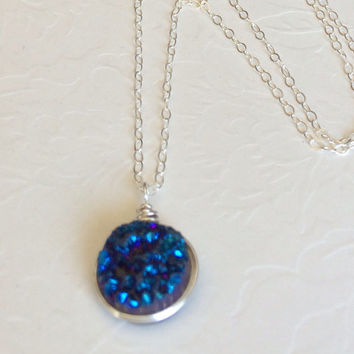Blue druzy quartz necklace - sterling silver druzy necklace - druzy agate necklace- Bridesmaid gift- gemstone necklace-blue necklace.