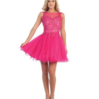 Fuchsia Filigree & Tulle Short Prom Dress Prom 2015