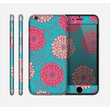 The Pink & Blue Floral Illustration Skin for the Apple iPhone 6