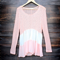 ruffle me up color block sweater tunic in peach