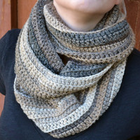 Crochet scarf, scarflette, neck warmer in neutral  colors