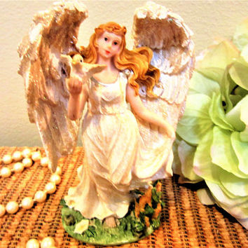 Angel Figurine Glitter Wings Collector Statue Religious Turtle Dove Vintage blm