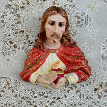 Vintage Sacred Heart of Jesus Chalkware Wall Plaque Made in Italy