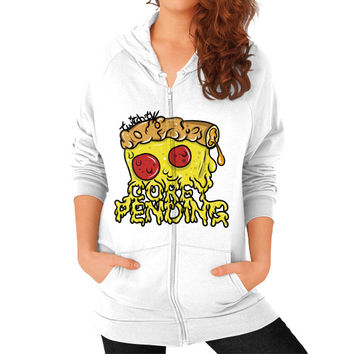 Official CoreyPending Twitch Shirt (LARGE GRAPHIC) Zip Hoodie (on woman)