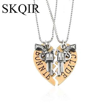 SKQIR Romantic Couples Heart Thelma Louise/Bonnie Clyde Pendant Necklace Gold Silver Alloy Metal Jewelry Love Necklaces Women