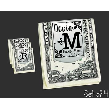 Set of 4 Personalized Money Clips | Groomsmen Gifts