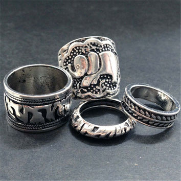 4 PCS Handmade Ethnic Ring Uniquering-102