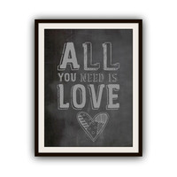 The Beatles All You Need is Love Typography Poster