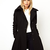 ASOS Skater Coat With Rib Collar