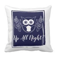 Up All Night? Retro Owl and Roses Cute Funny Throw Pillow